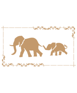 Sjabloon Dieren 03 - Olifanten 20cmx30cm