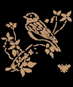 Sjabloon Dieren 06 - Vogel op tak 2 20cmx20cm