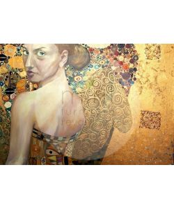 Beautiful Woman in Gold-Mint by Michelle decoupage- A3