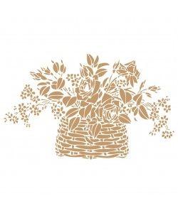 Sjabloon Bloemen 02 - Mand met bloemen 20cmx20cm