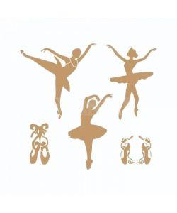 Sjabloon vintage 19 - Ballerina 20cmx20cm